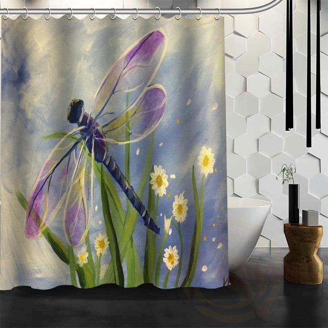 Dragonfly Shower Curtain 6 Variants Dragonfly Decor Bathroom Shower Curtains Unique Shower Curtain