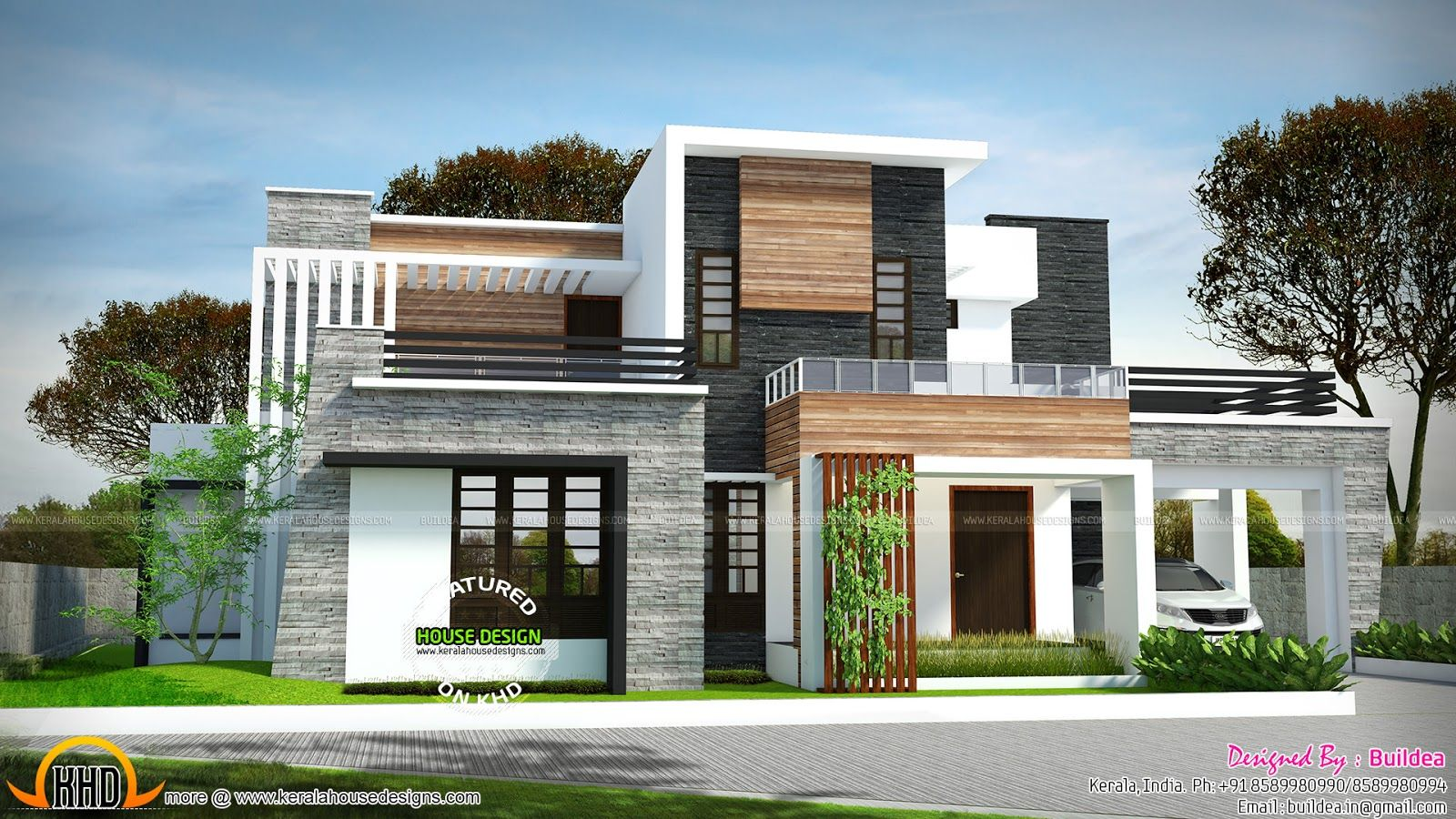 2729 sq ft 4 bedroom flat roof modern house house for Kerala home design flat roof elevation