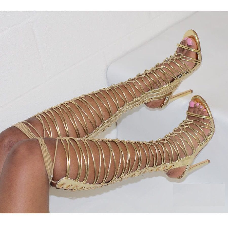 Exposed stiletto heel lace up cut-outs Pumps