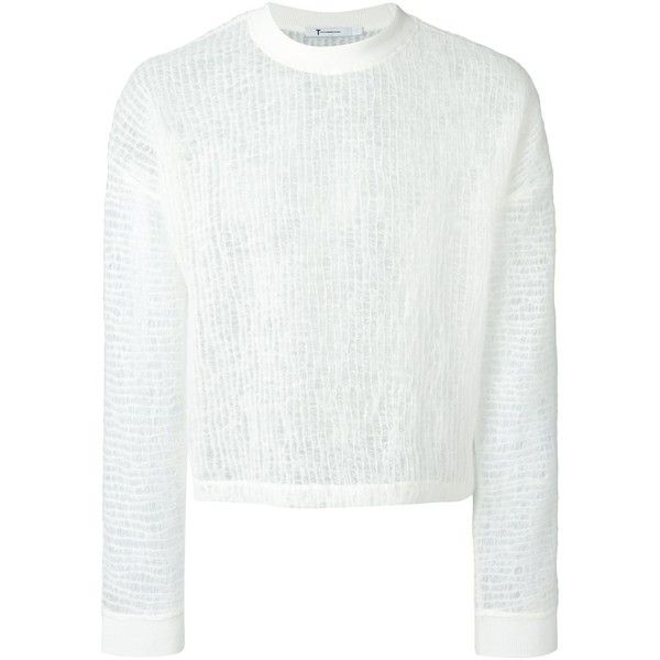 Alexander Wang sheer sweater ($600) ❤ liked on Polyvore featuring tops, sweaters, white, white long sleeve sweater, white ribbed sweater, crew-neck sweaters, ribbed sweater and sheer long sleeve top