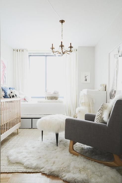 Chic Boy S Nursery Features A Two Tone Crib Next To A Twin