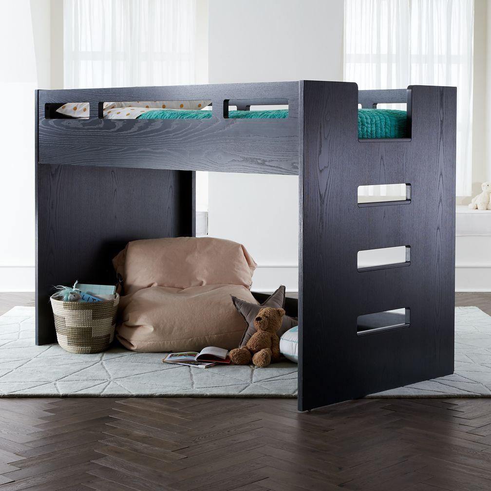 Loft bed with desk on bottom  Shop Abridged Charcoal Glaze Low Twin Loft Bed Weuve created a Loft