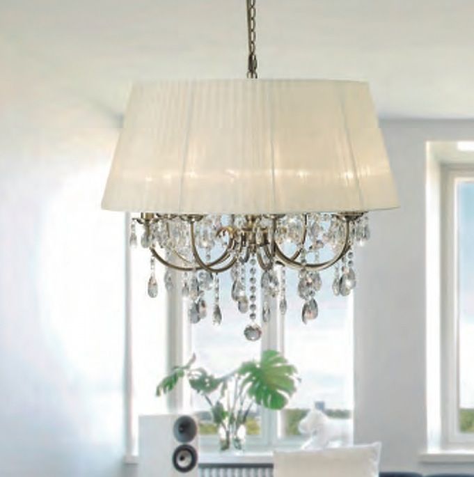 Madmoiselle cream shaded crystal chandelier barrels chandeliers lamps plus barrel chanderlier with chrystals voile shade chandelier pendant featuring magnificent asfour crystal mozeypictures Images
