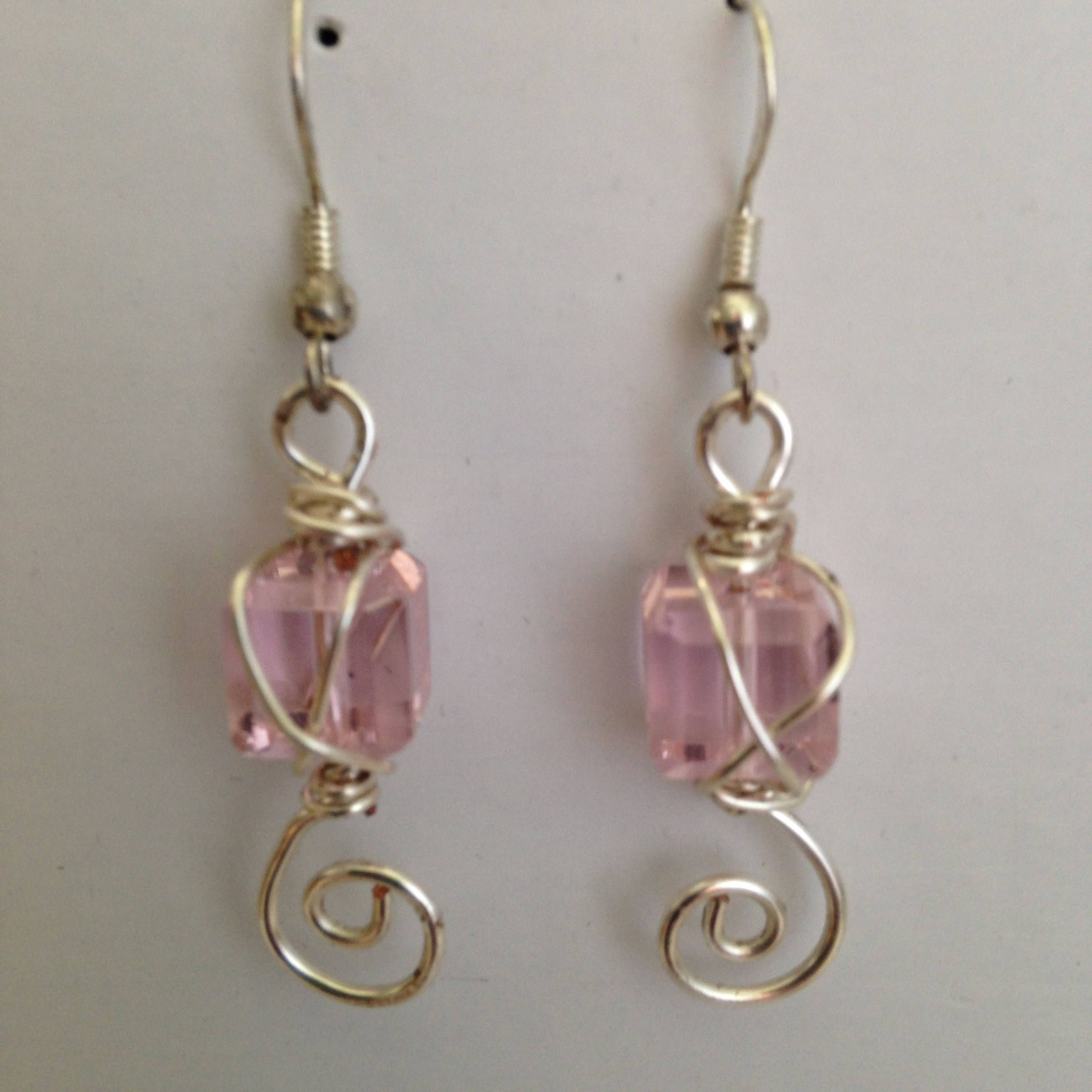 Pink Cube Cut Glass Wire Wrapped Earrings   Cut glass, Wire wrapping ...