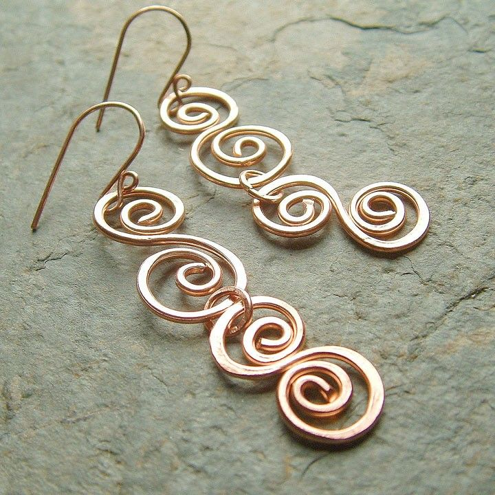 Copper Earrings Hammered Copper Double Swirls - eco friendly boho ...