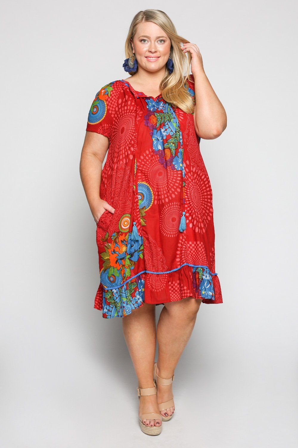 768babd2729 Lucy Dress in Flourish Red (Plus Size) – Adrift Clothing