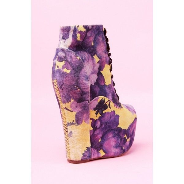 Jeffrey Campbell Damsel in Yellow Purple Floral ($190) ❤ liked on Polyvore