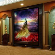 Large - scale custom wallpaper gold peacock flower sea porch backdrop papel de parede infantil menina(China (Mainland))