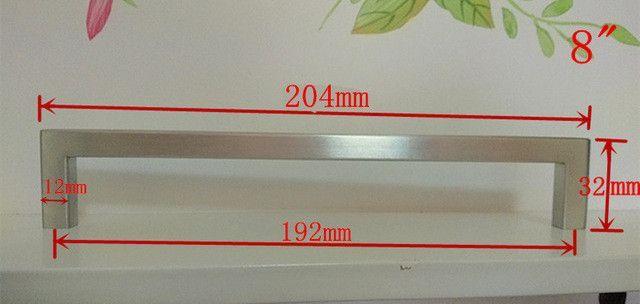 """12*12mm Square Bar door handle Stainless Steel Kitchen Door Cabinet Handle Pull Knob 4.2""""~24"""""""
