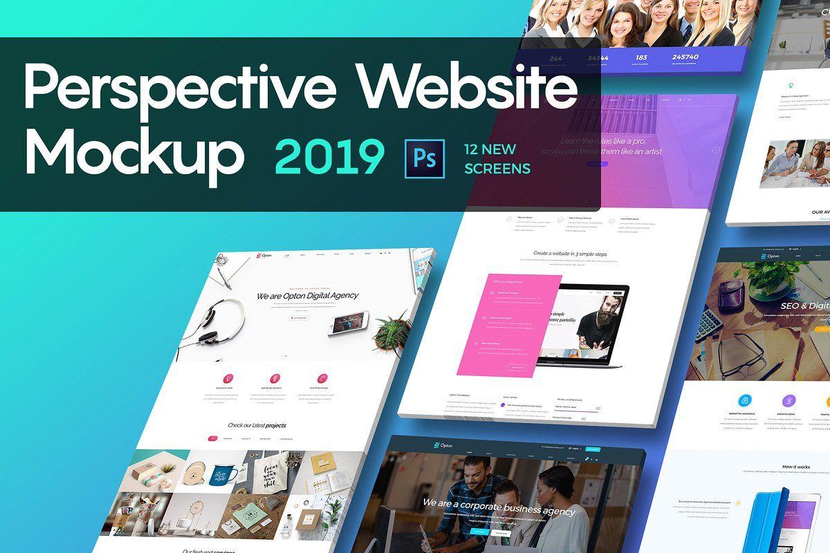 Perspective Website Mockup 2019 Website Mockup Mockup Photoshop Plugins