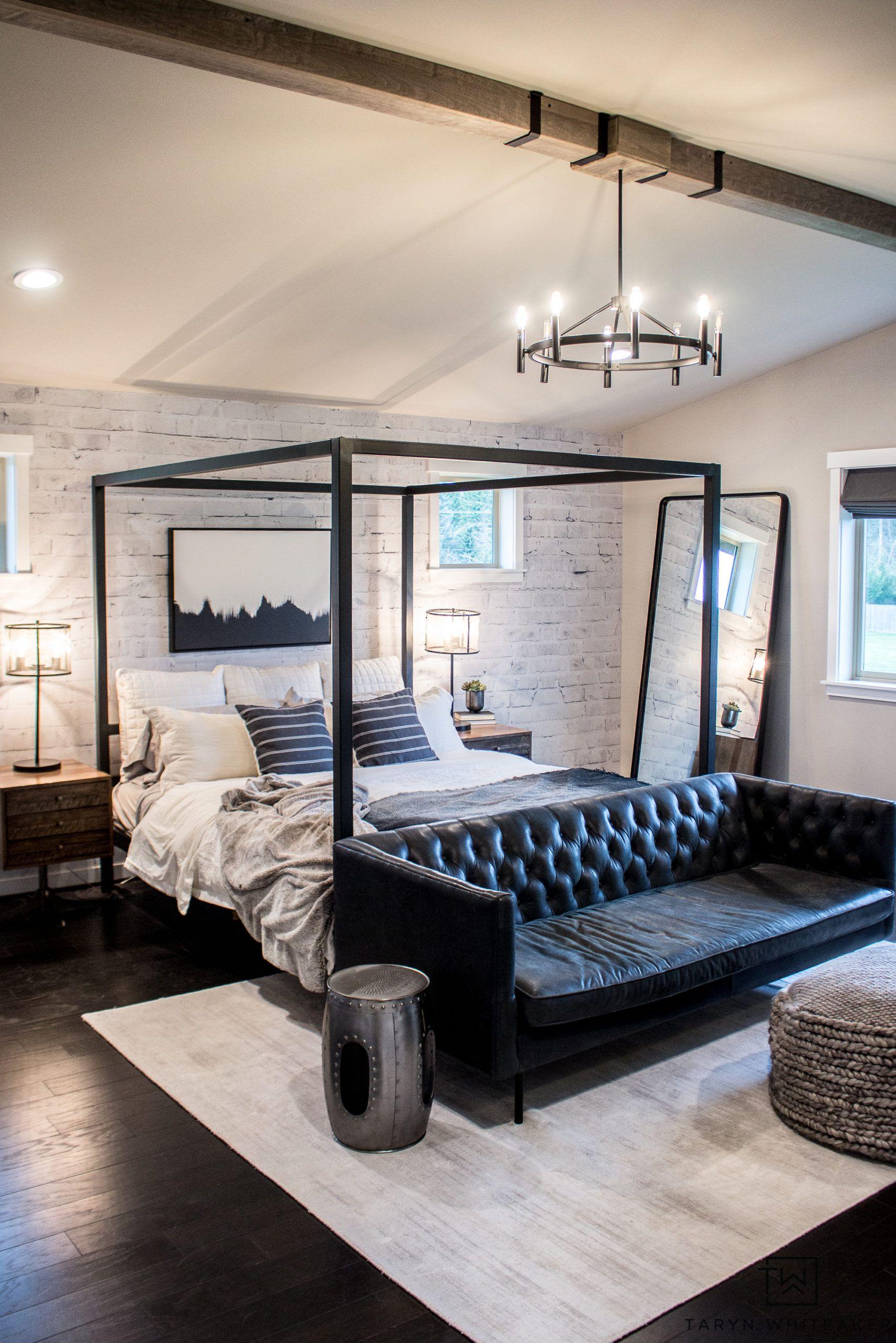 Black And White Master Bedroom Reveal In 2020 White Master