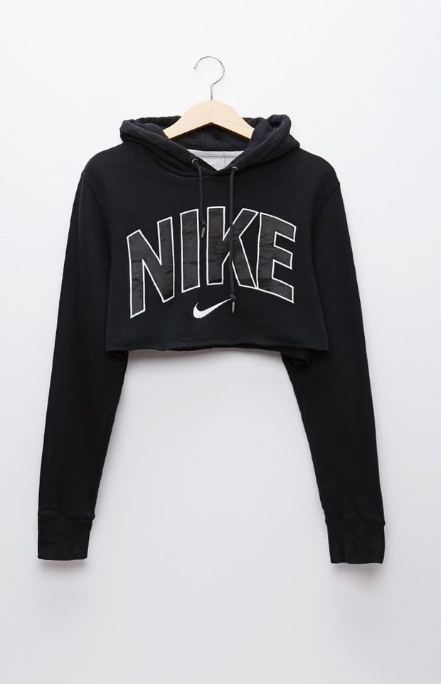 4ee24f97013 Cropped sweatshirts are soo nice. Retro Gold Nike Black Pullover Hoodie - Womens  Hoodie - Black - One