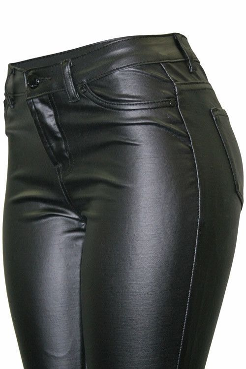 80326b99a136d Super Chic 5-Pocket-Styled Skinny Motorcycle Pant. These Faux-Leather Pants  are Made of Ponte Fabric