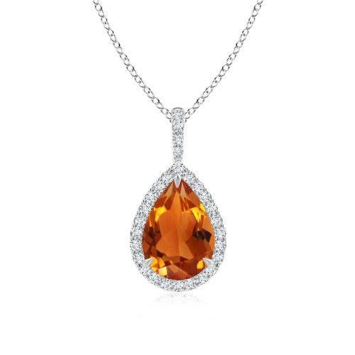 Angara Pear Drop Citrine Diamond Halo Vintage Pendant in White Gold AWvR2Xy