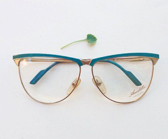 fa8588463224 Annabella original Frames   80s NOS golden and green metal eyeglasses    Vintage cat eye italian glasses   womens optical rare eyewear by Skomoroki