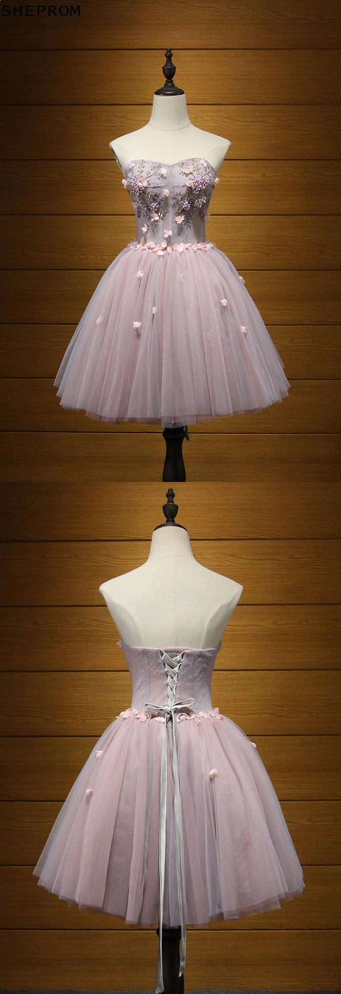 Cute short pink beaded homecoming dress for curvy girls