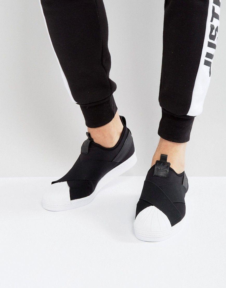 adidas Originals Superstar Slip On Sneakers In Black BZ0112