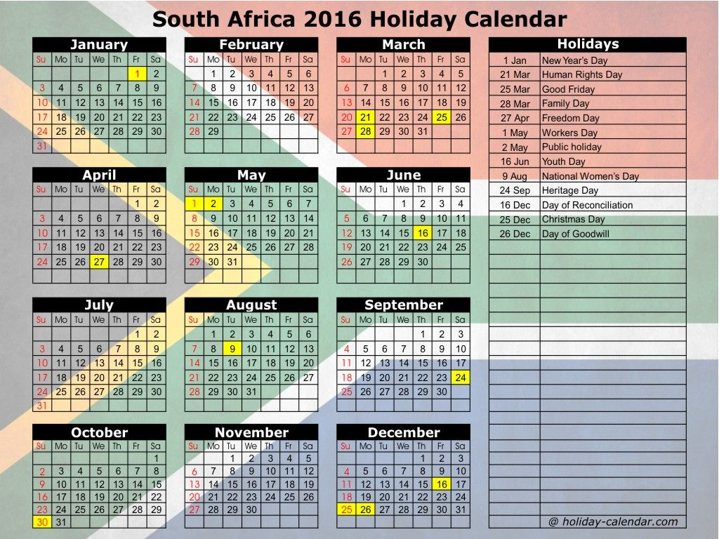 September  Calendar South Africa  September Month