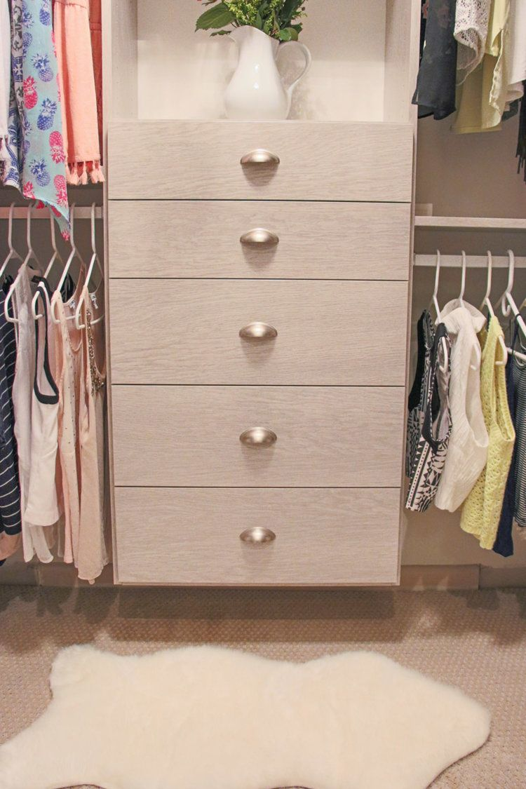 Beautiful Small Custom Closet Ideas | Closet Built In Drawers | Cupped Drawer Pulls | California  Closets