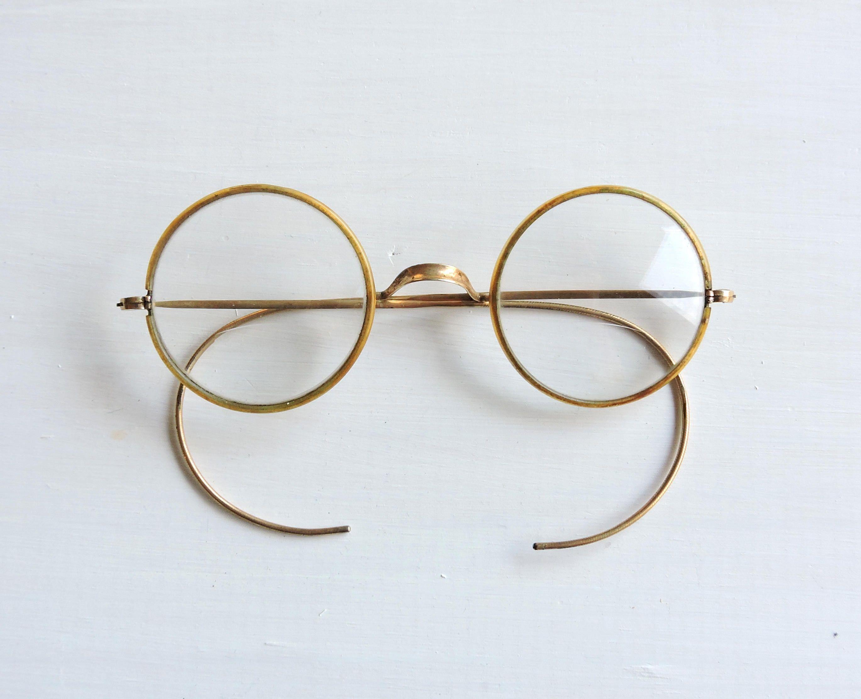 d27beacd5 Vintage Round Windsor Eyeglasses, Gold Antique Bifocals, Marked Windsor Eye  Glasses, Celluloid Eyerims, Saddle Bridge, Riding Bow Temples by ...