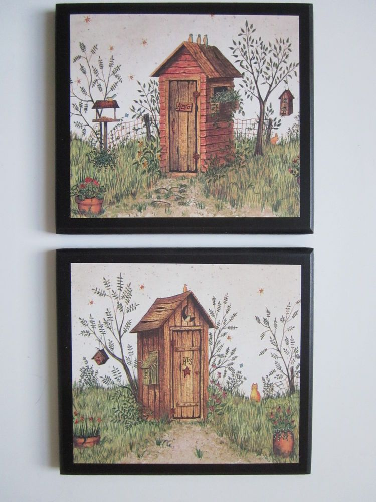 Outhouse His Hers Wall Decor Pictures Country Rustic Bathroom Primitive Bath Outhouse Bathroom Decor Rustic Bathroom Wall Decor Outhouse Bathroom