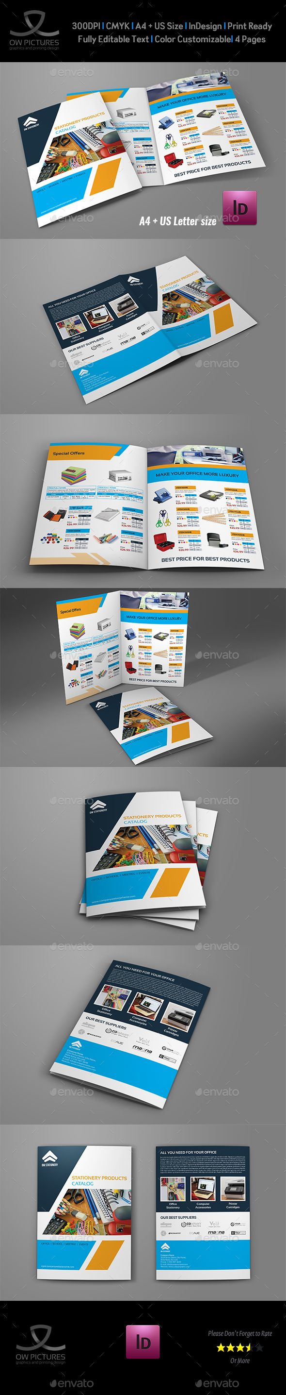 Stationery Products Catalog Bi Fold Brochure Template Brochure - Bi fold brochure template indesign