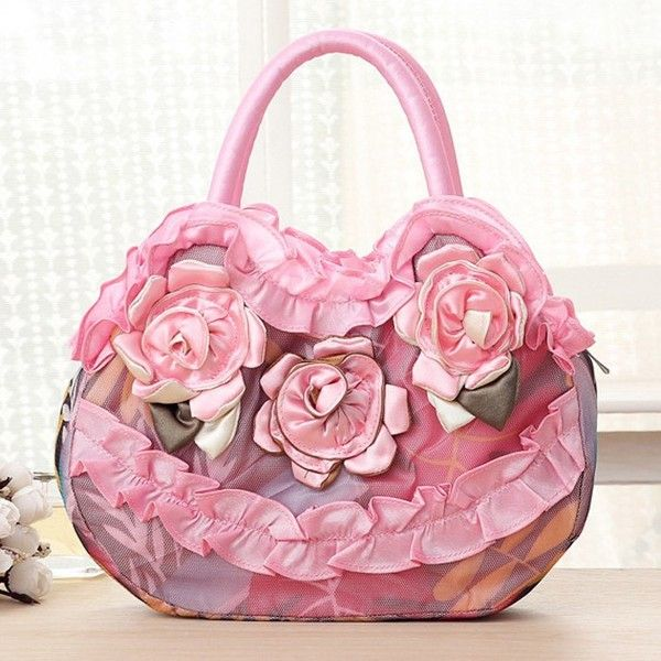 Satin Ruffle and Flowers Handbag (25 BAM) ❤ liked on Polyvore featuring bags