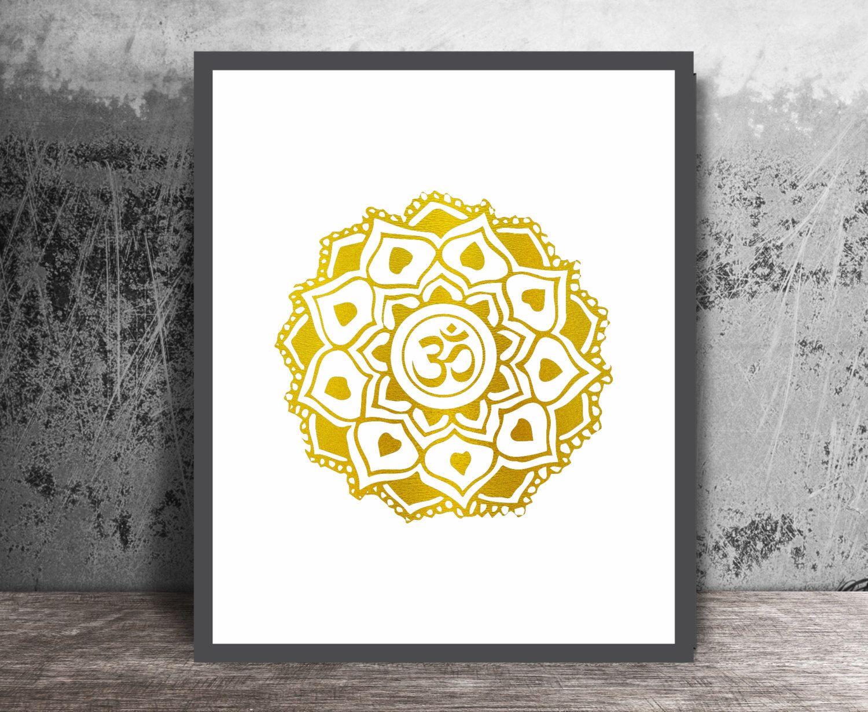 Om Art Print, Faux Gold Foil, Mandala Art, Mehndi Decor, Yoga Studio ...