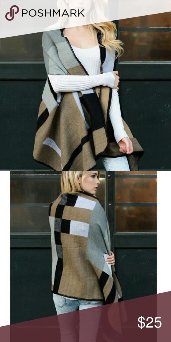 "Colorblock Ruana Poncho 100% Acrylic Dimensions 72"" x 25"" Accessories Scarves & Wraps"