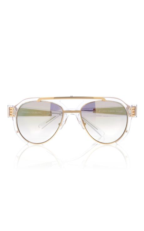 Clear Aviator Sunglasses by Prabal Gurung for Preorder on Moda Operandi