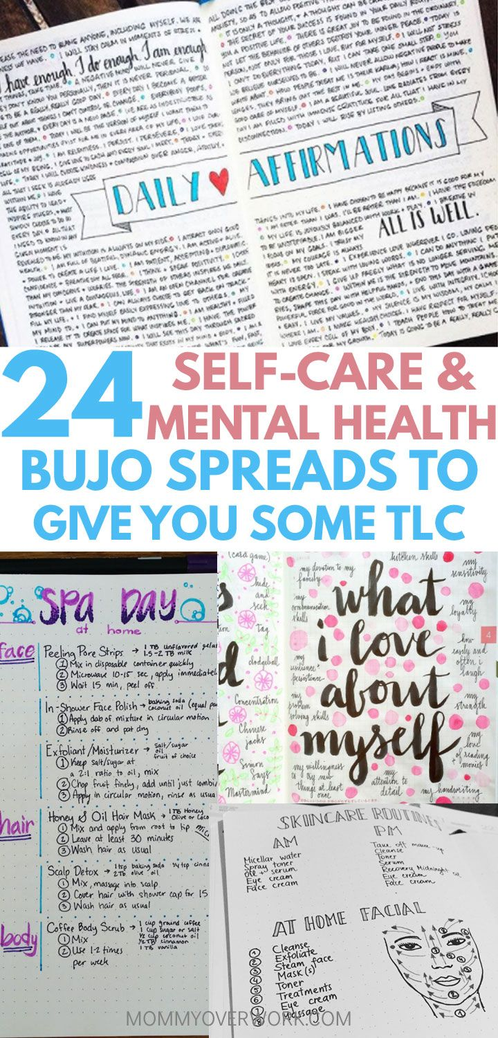 24 Self Care & Mental Health Bullet Journal Ideas to PAMPER YOURSELF ...