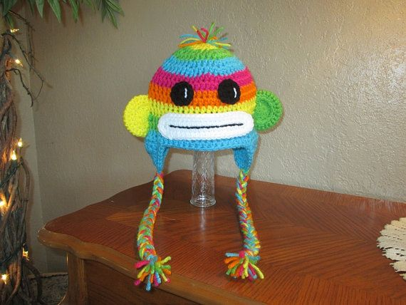Rainbow Colored Sock Monkey Crocheted Hat - Photo Prop - Available ...