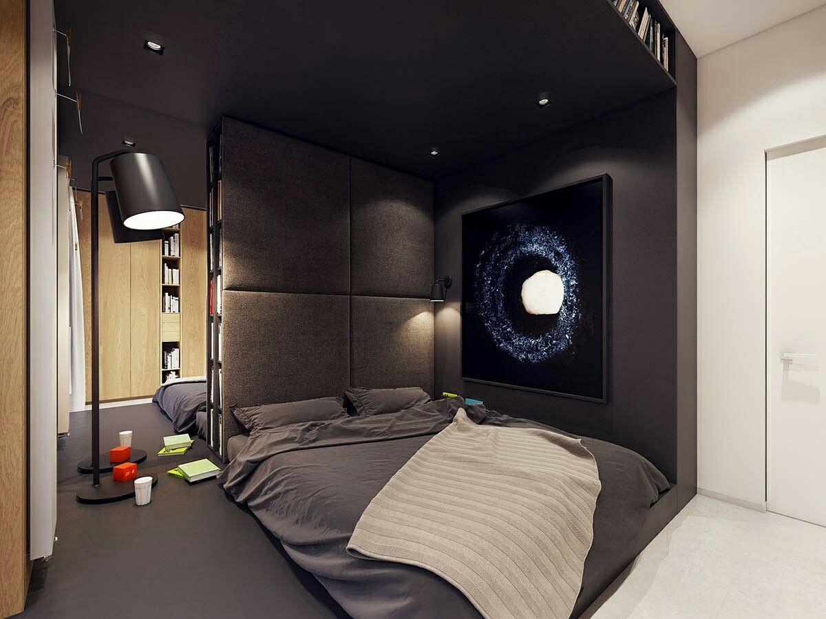 Cozy dark bedroom design by PLASTERLINA cozy interior