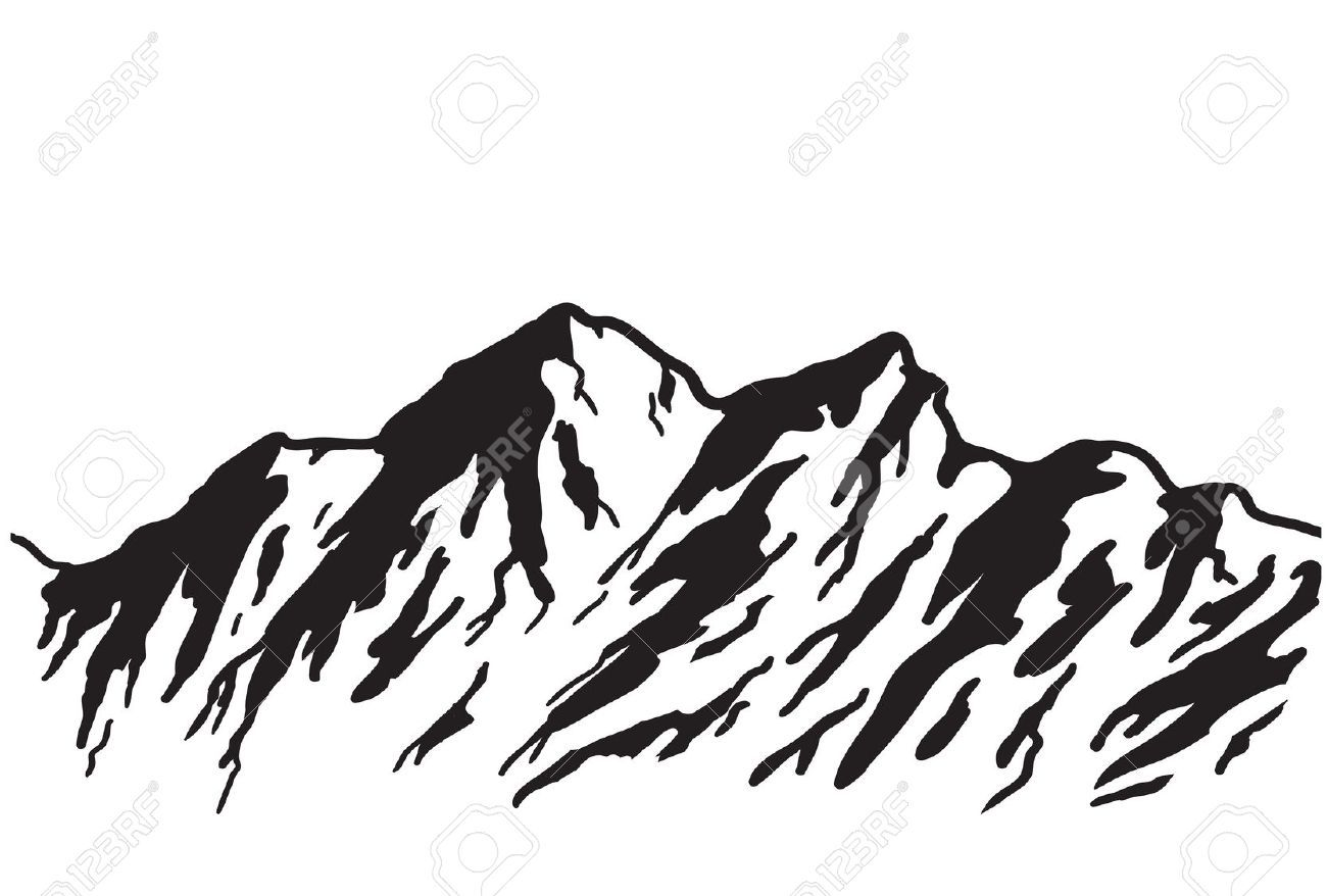 mountain range silhouette vector