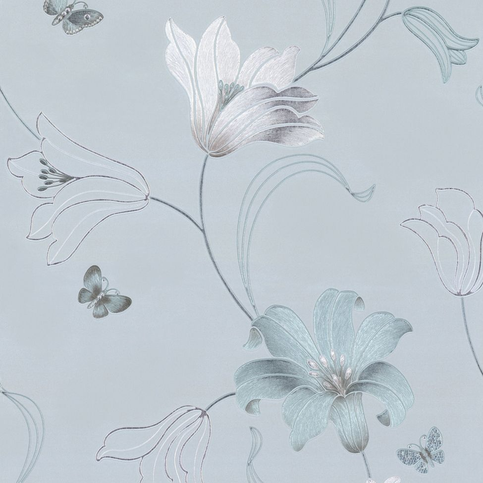 From Midnight To Duck Egg See: Muriva Couture Amelia Floral Vinyl Wallpaper