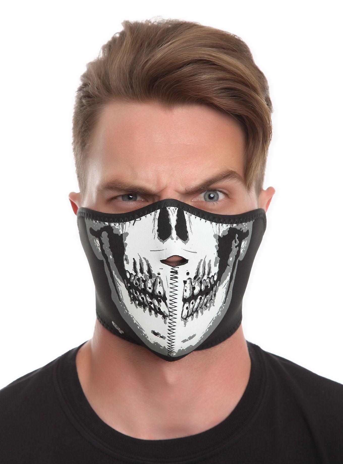 Skull Glow-In-The-Dark Neoprene Half Face Mask | Hot Topic | Quick ...