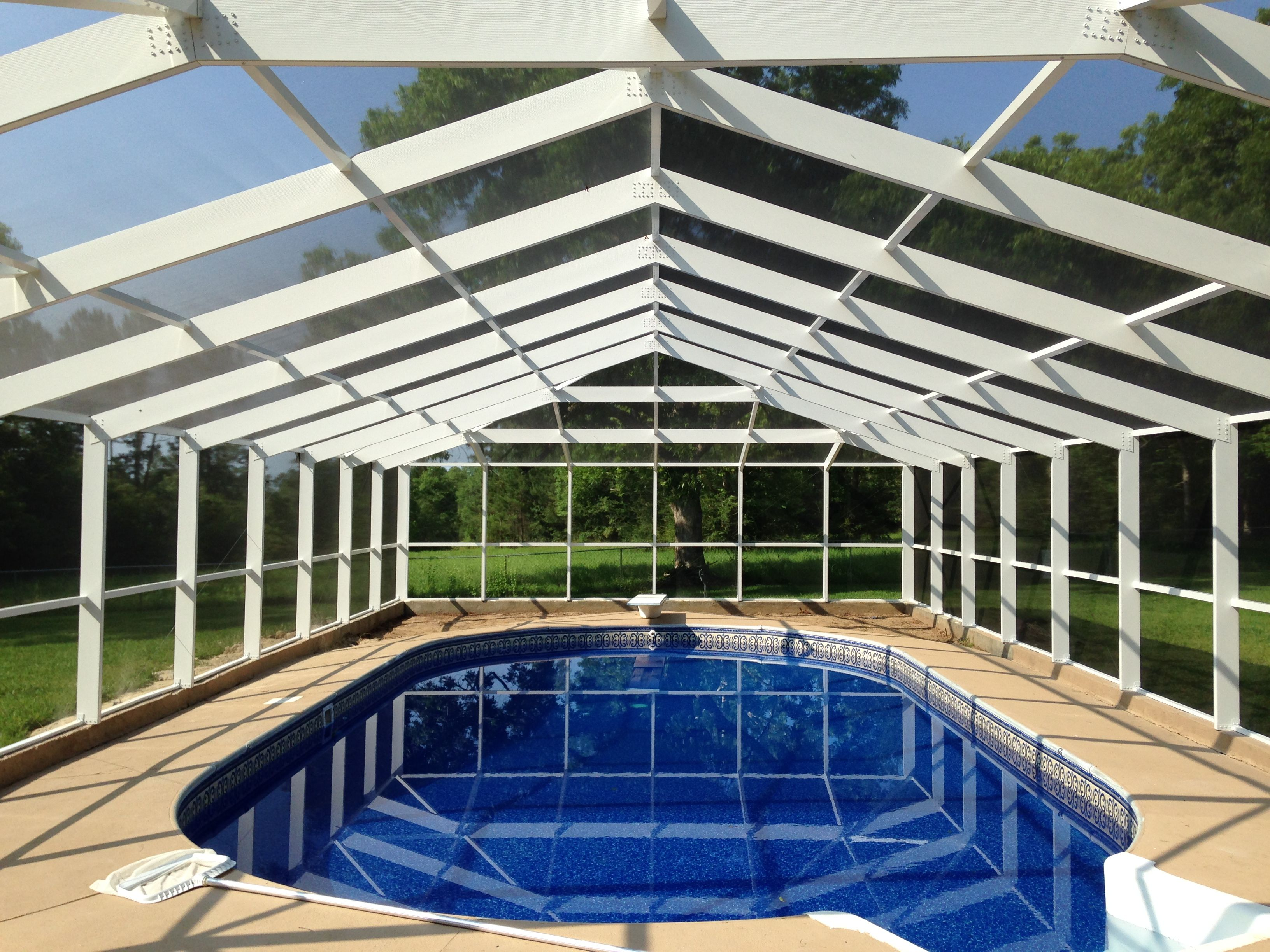 White Frame Gable Roof Swimming Pool Enclosure Built By Aluminum