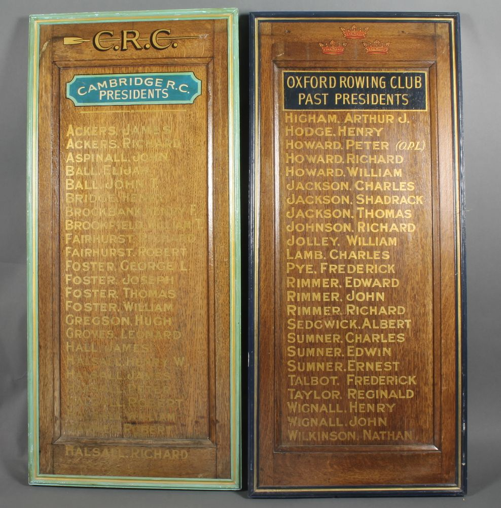 """Lot 153, 2 rectangular oak painted honours boards marked 1 marked Cambridge Rowing Club Presidents and 1 marked Oxford Rowing Club Past Presidents, 44"""" x 19 1/2"""" Est £50-80"""