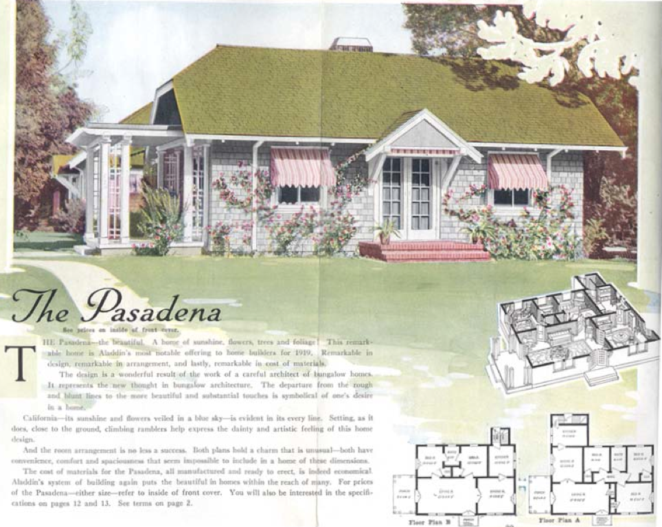 aladdin kit home the pasadena 1919 - 1919 House Plans