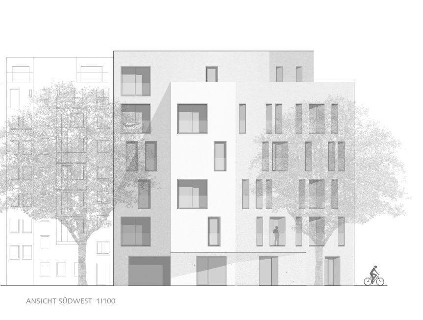 West view 1I100  Monolithic housing in St Georg I Hamburg  West view 1I100  Monolithic housing in St Georg I Hamburg