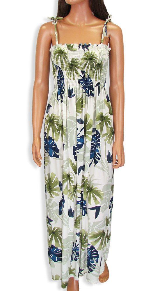 3b8bb0e42447 Aloha Long Tube Top Smocked Dress Leaves Design #610R-LEAVES ...