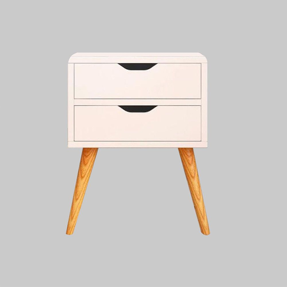 Home Chic White Bedside Tables Drawers with Wicker Storage Unit Wooden Cabinet