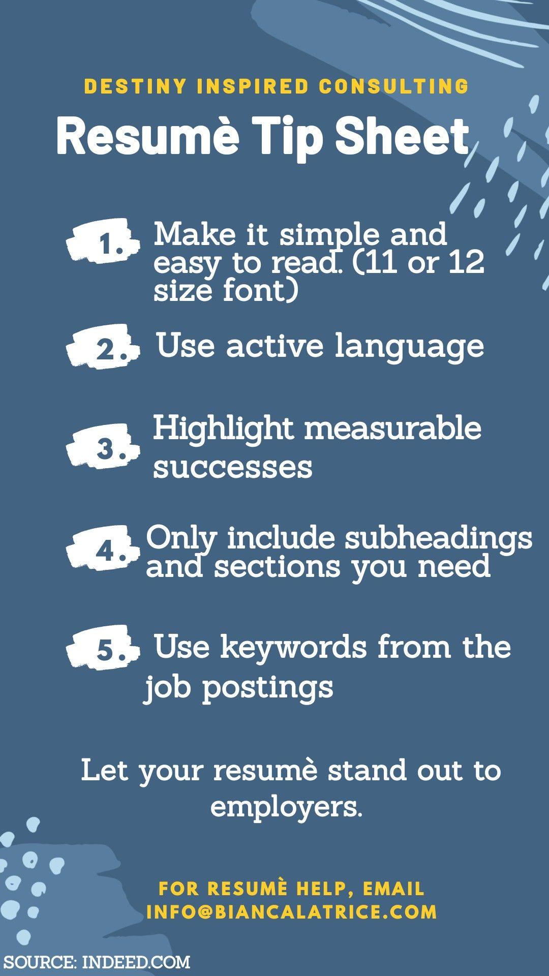 Resume tip sheet infographic font size job description