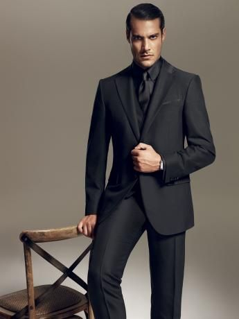 Tuxedo In Wool And Silk With A Shiny Grosgrain Effect Black With