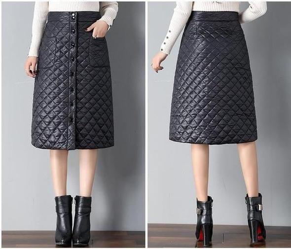 00cf74699236 Plus size 3XL 2018 Autumn winter Korean Style Women's Down Skirt Strai –  liilgal