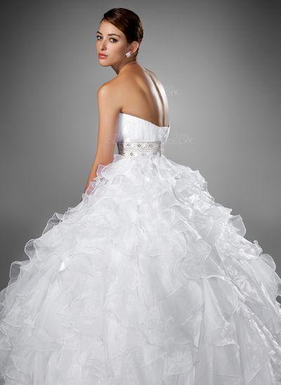 Ball-Gown Sweetheart Chapel Train Organza Satin Wedding Dress With Beading Cascading Ruffles