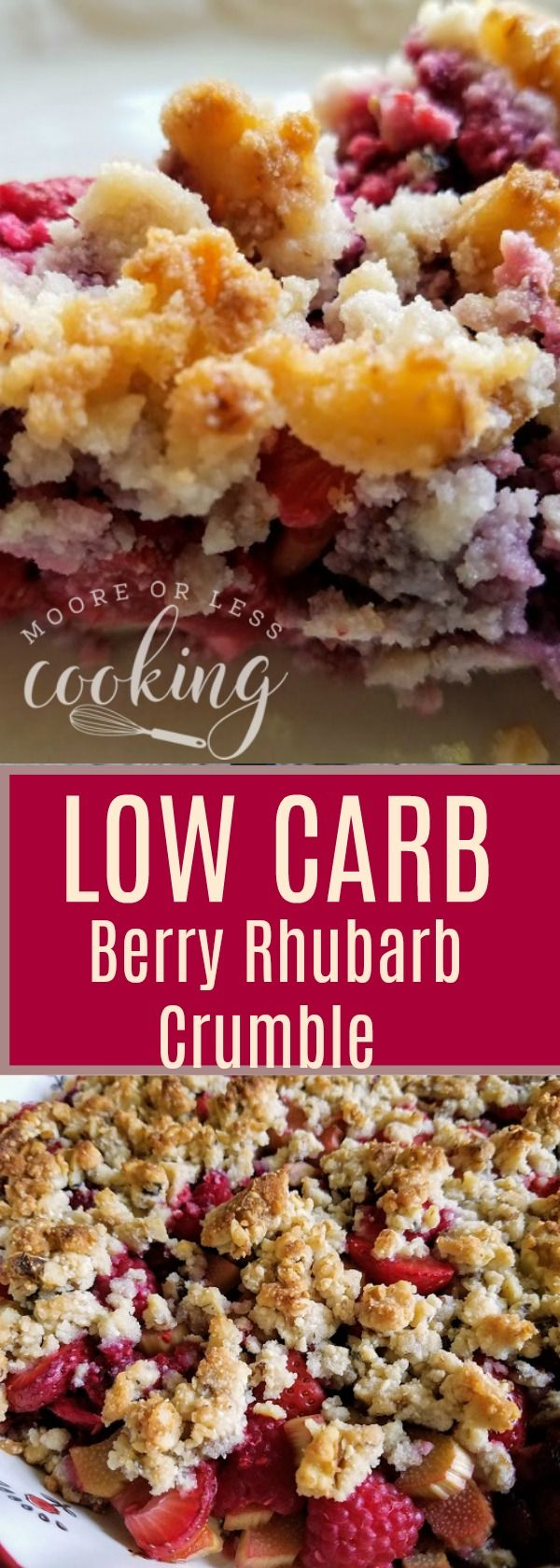 Incredibly delicious Low Carb Strawberry Raspberry Crumble for when you are craving a summer crumble with fresh berries and rhubarb. #lowcarbyum
