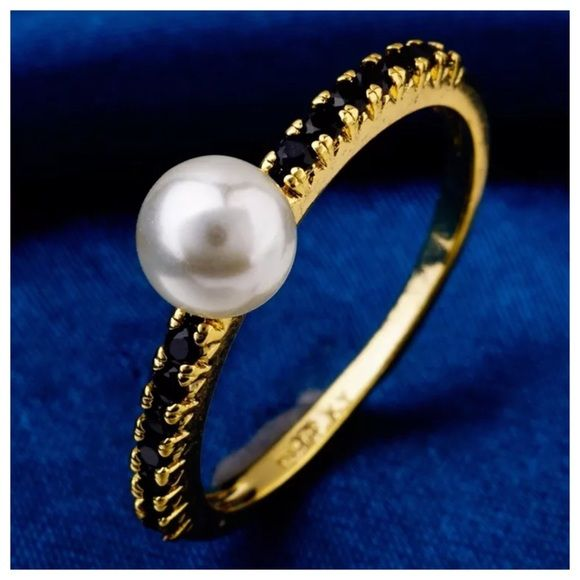 Elegant Gold with Pearl & Black CZ Ring Boutique