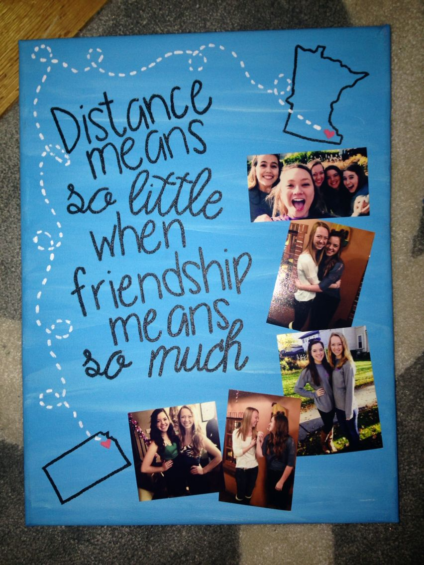 Distance canvas for a friend birthday diy gifts