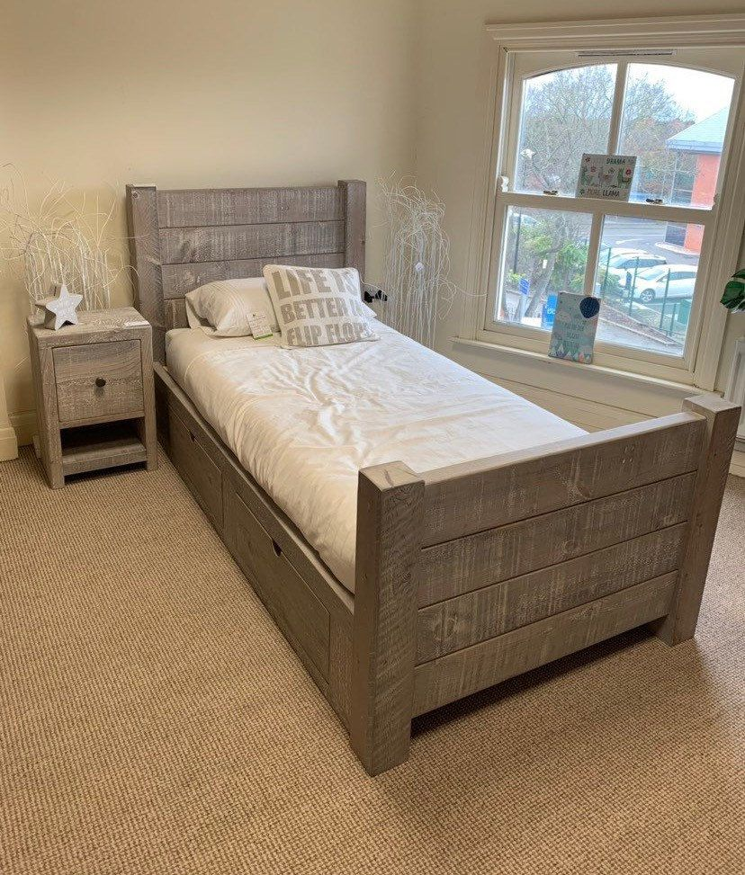 Grey Wash Rustic Chunky Solid Wood Bed *any size* Single